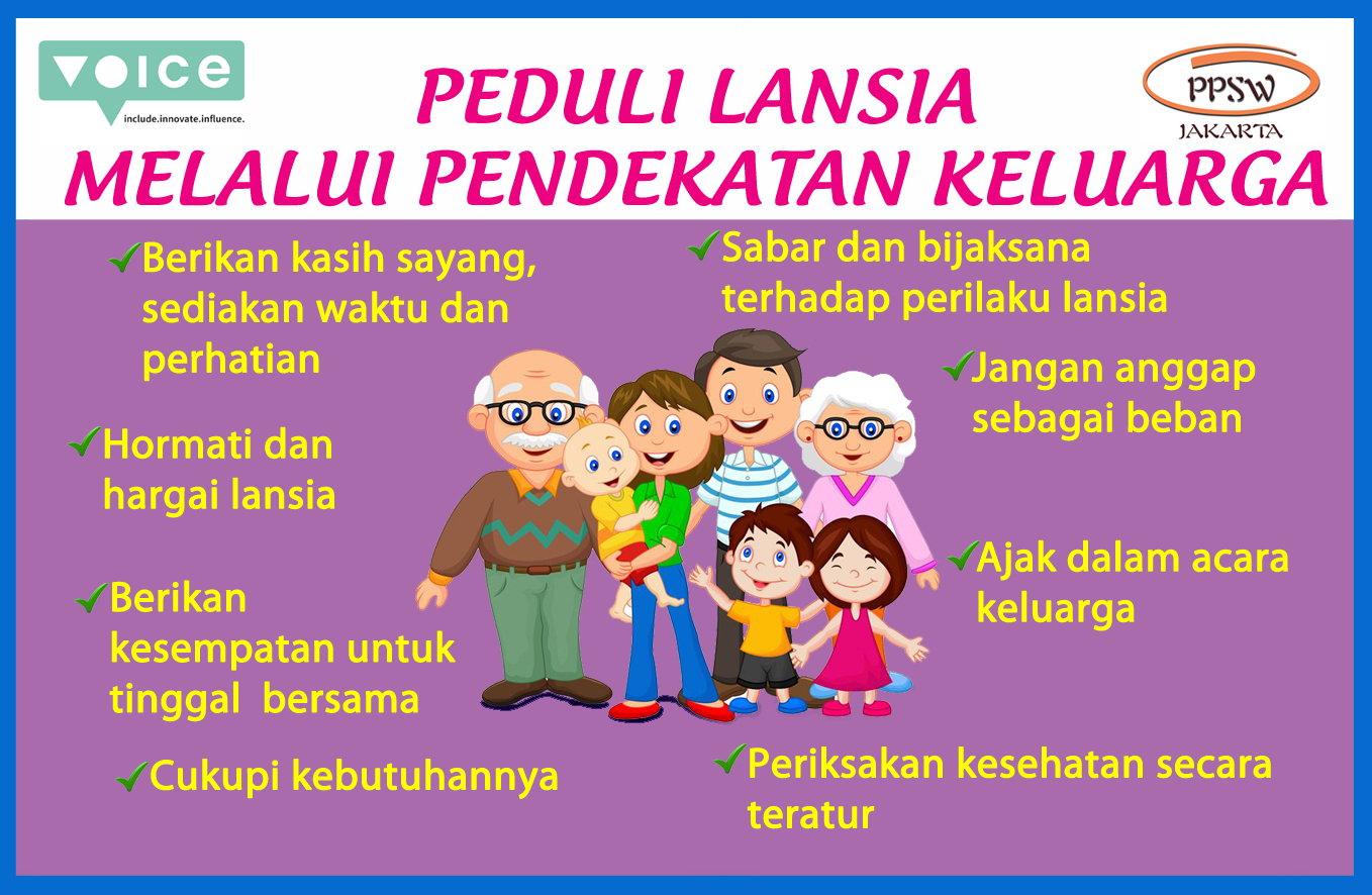 A sticker produced by PPSW Jakarta advocating for family care of the elderly. The image shows a family of 7 with 2 elderly persons, 2 middle-aged persons, and 3 children.