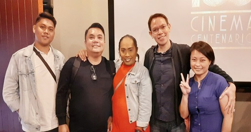 Delegates from Gayon Inc. (Marvin, Toots and Ruffa) with Delegates from Free Thinkers (Red and Tin) smiles to the camera after the film screening.